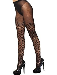 Fishnet Chevron Pattern Tights