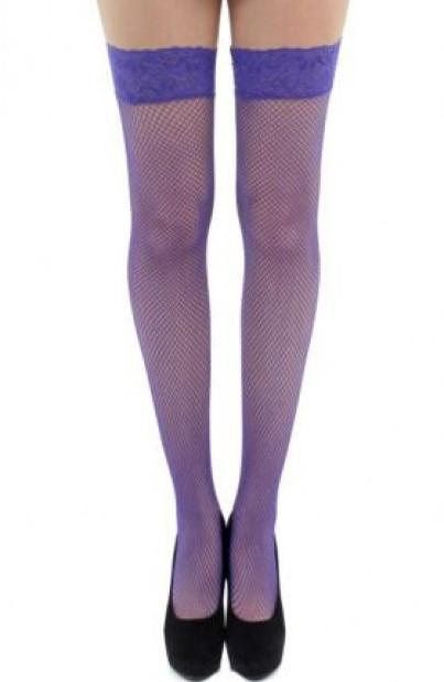 Purple Lace Top Hold Ups by Pamela Mann