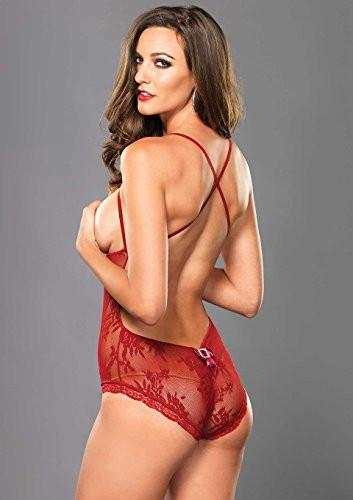 Leg Avenue Women's Stretch Lace Open Cup Teddy (red) OS