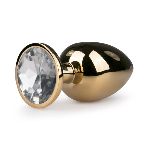 Large Gold Metal Butt Plug With Crystal Base