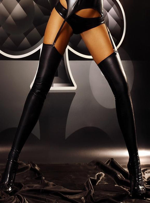 Warm Up Black Leather Effect Stockings