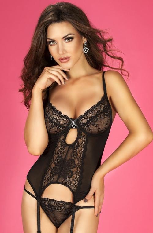 Black Lace Basque With Suspenders & Thong 14