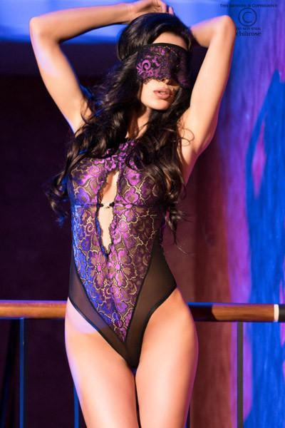 Body In Tulle And Black/Purple Lace And Blindfold 10