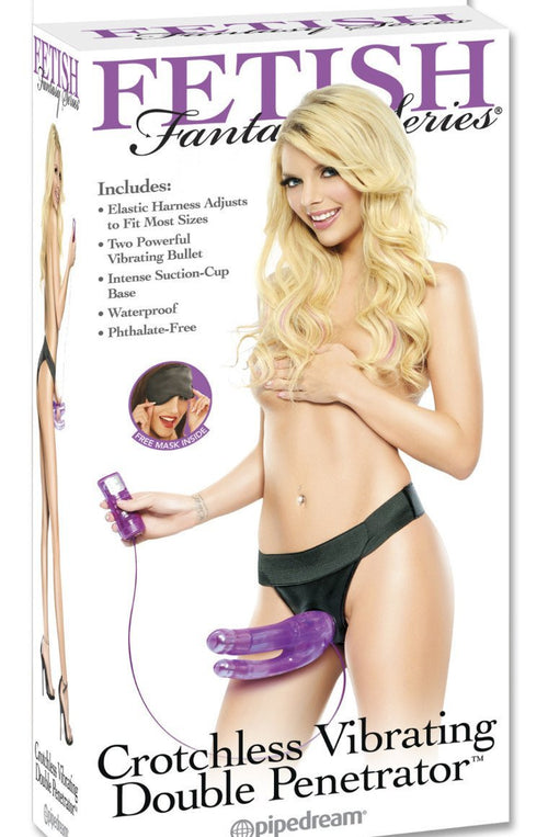 "8"" Crotchless Vibrating Double Penetrator With Removable Suction Base Dong"