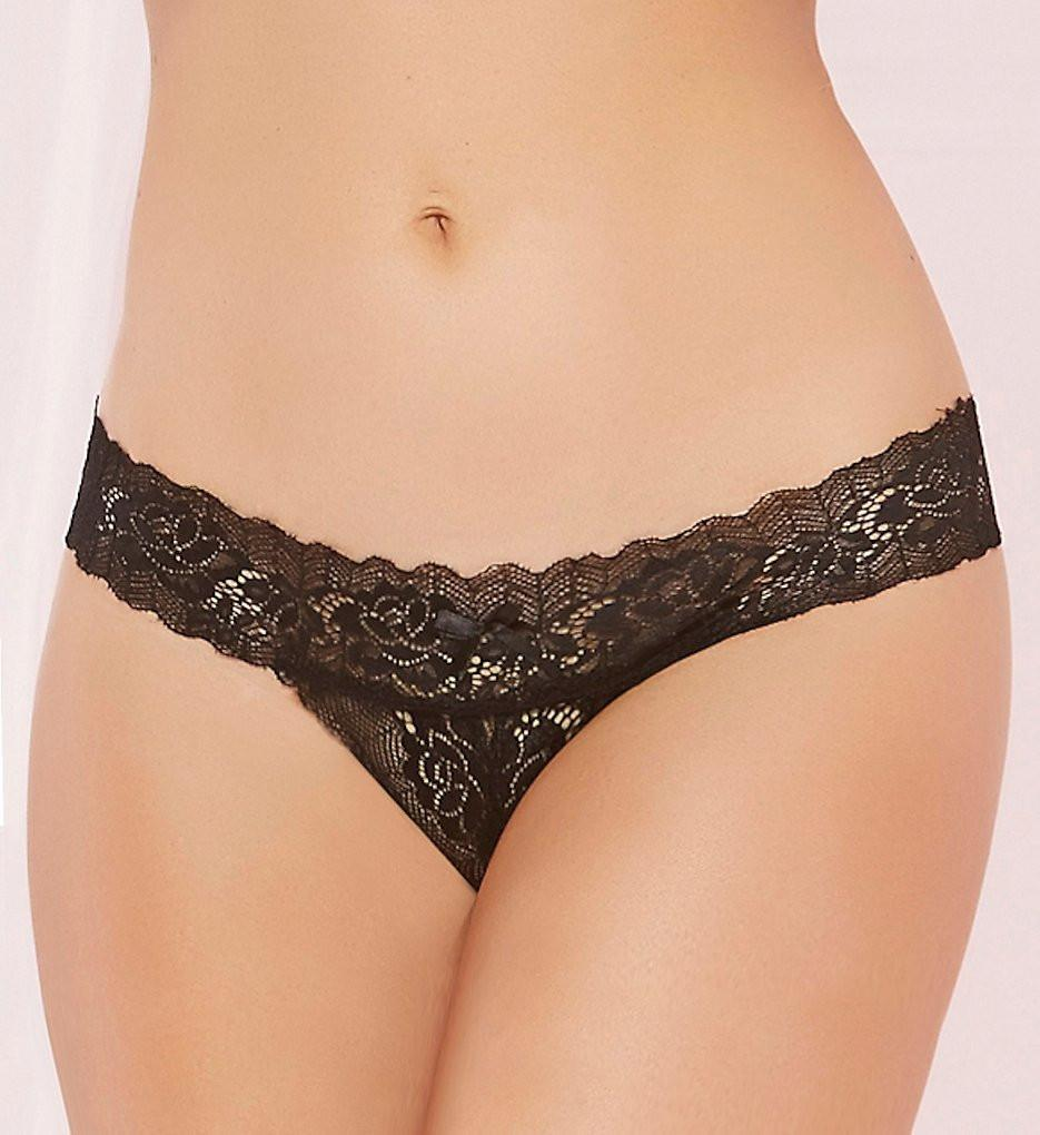 Zoey Open Crotch Tanga Black 6-18