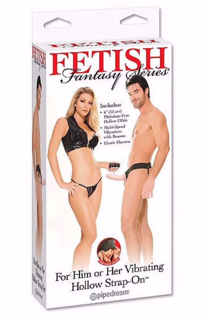 For Him Or Her Vibrating Hollow Strap On-Flesh