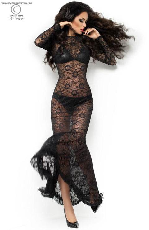 Fishtail Floral Lace Black Long Dress & Bra & Pant Set 10
