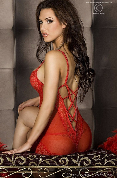 Red Lace Babydoll & String 16