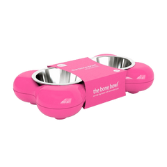 Hing Designs The Bone Bowl with Non Slip Rubber Feet and Dishwasher Safe Removable Stainless Steel Bowls, Pink