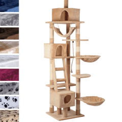 Leopet® KBD010 2beige Cat Tree Scratching Post Kitten Climbing Excercise Activity Centre Sisal Height ca. 230cm