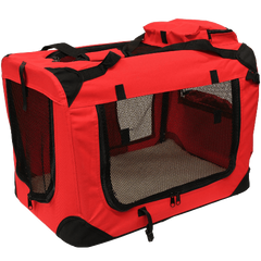 Mool Lightweight Fabric Pet Carrier Crate with Fleece Mat and Food Bag, Medium, 60 x 42 x 42 cm, Red