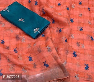 Orange Poly Linen Sarees for your summer events - kartlifestyle.com