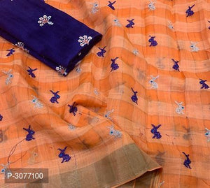 Peach Poly Linen Sarees for your summer events - kartlifestyle.com