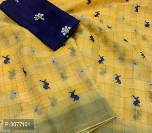Golden Poly Linen Sarees for your summer events - kartlifestyle.com