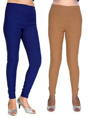 Women's Casual Blue Beige Pant Combo of 2