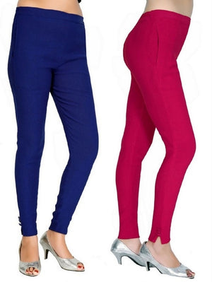 Women's Casual Blue Red Pant Combo of 2