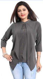 Women's Stylish Button Grey Top - kartlifestyle.com