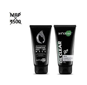 Skinatura Activated Charcoal Peel-off Mask & Charcoal Oil Control Face Wash - kartlifestyle.com