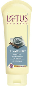 Lotus Herbals Claywhite Black Clay Face Pack - kartlifestyle.com