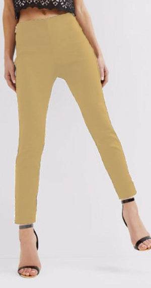 Stretchable Cotton Pencil Beige Pant