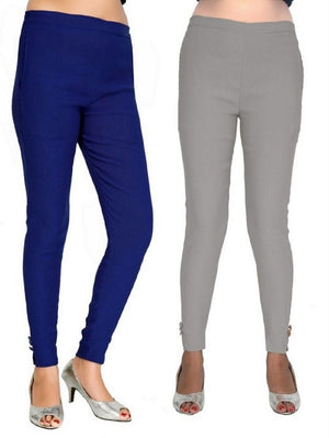 Women's Casual Blue Grey Pant Combo of 2