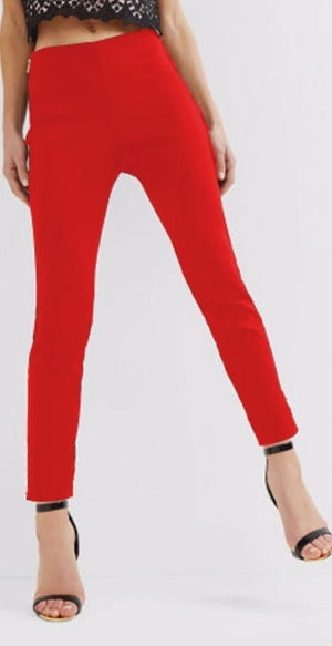 Stretchable Cotton Pencil Red Pant - kartlifestyle.com