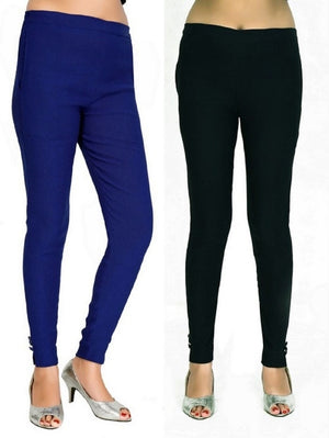Women's Casual Blue Black Pant Combo of 2