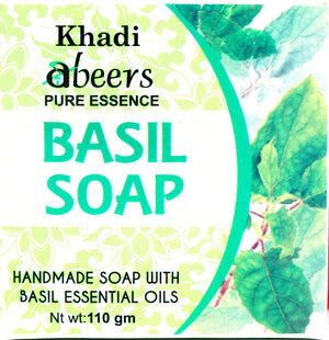 Abeers Khadi Pure essence BASIL SOAP for Acne - shopwellnessonline.com - 1