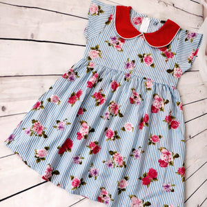 Girls Blue Pink Floral Dress