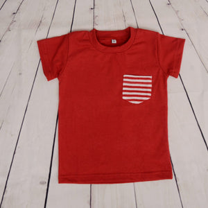 Basic Red Tshirt (Striped Pocket) - kartlifestyle.com