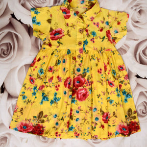 Girls Bright Yellow Shirt Frock - kartlifestyle.com