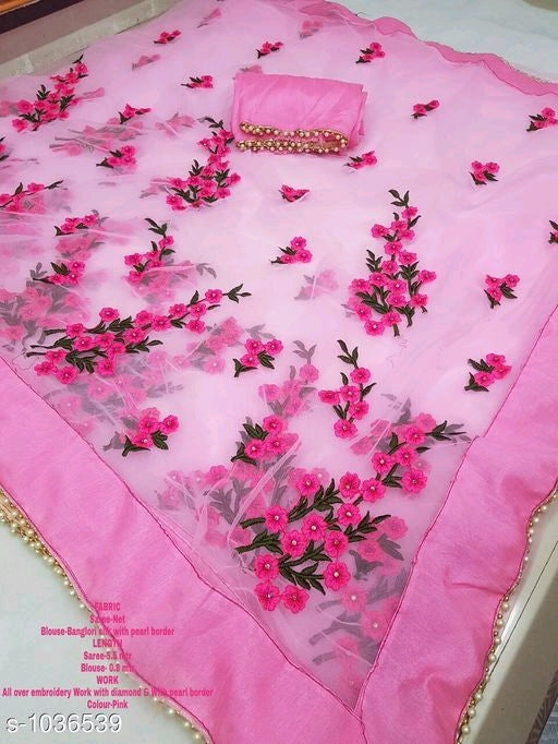 Embroidery and Pearl Border Sarees - kartlifestyle.com