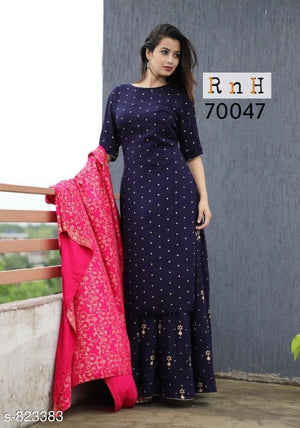 Women's Rayon Double Layered Kurti