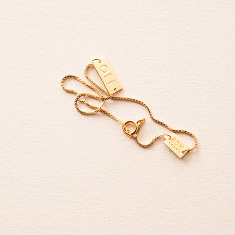 BOW LABEL - CHAIN BRACELET - ON/OFF- GOLD PLATED SILVER - BOX CHAIN BRACELET