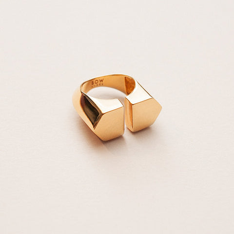 Bow label orhalese ring gold plated silver adjustable size
