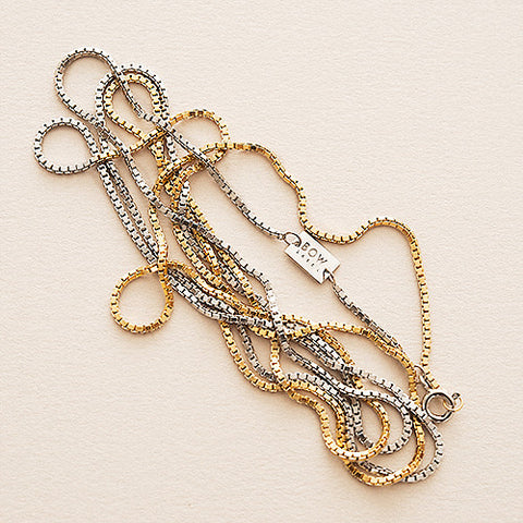 Bow label 90's chain nacklace box chain  gold plated rhodium plated plated silver