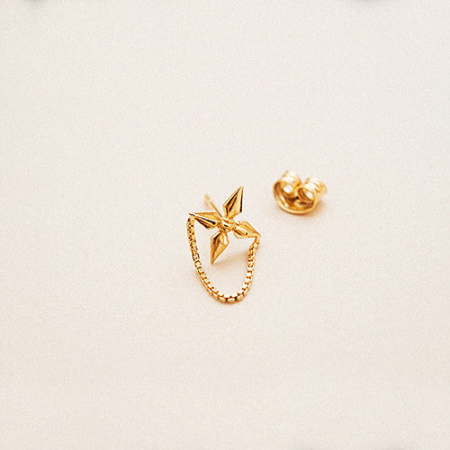 BOW LABEL - APACHE STUD EARRING - BOX CHAIN DETAIL - GOLD PLATED SILVER