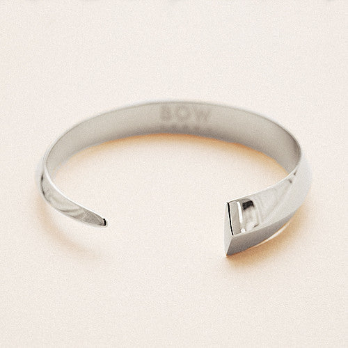 Bow label epee cuff bracelet rhodium plated solid silver