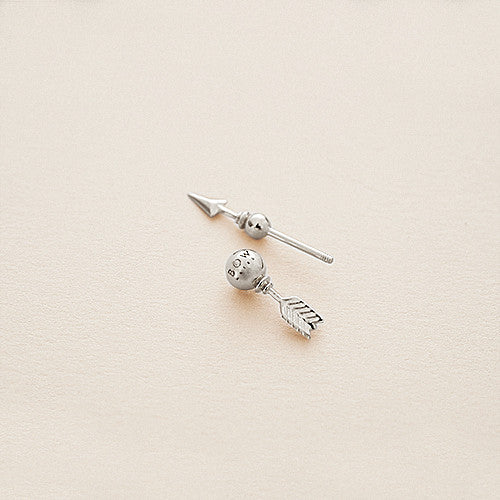 BOW LABEL MAKE WEIGHT EARPIN RHODIUM PLATED SILVER EARRING