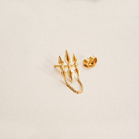 BOW LABEL TRISHULA STUD 24 KARAT GOLD PLATED SILVER earring