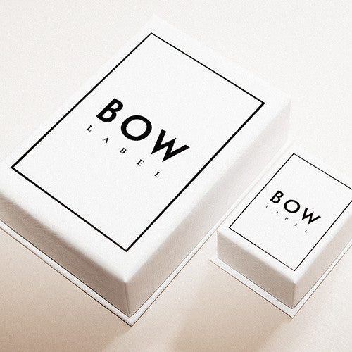 BOW LABEL TILES EARRINGS RHODIUM PLATED SILVER