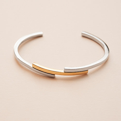 BOW LABEL - LOVE'S PEACE CUFF BRACELET - RHODIUM/GOLD PLATED SILVER