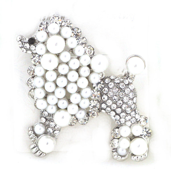 Poodle Glass Pin Brooch