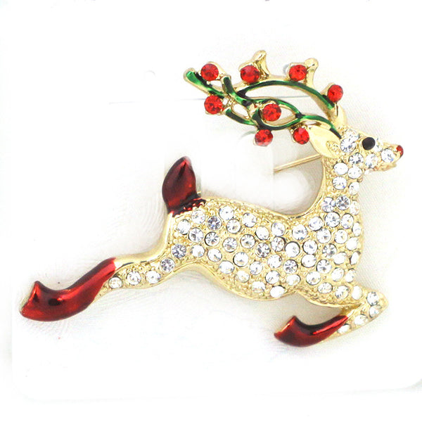 Reindeer Glass Pin Brooch