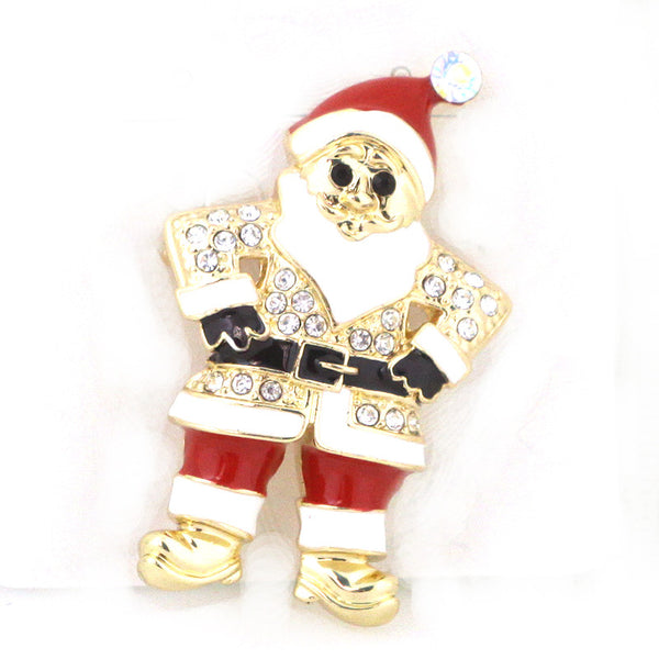 Golden Santa Glass Pin Brooch