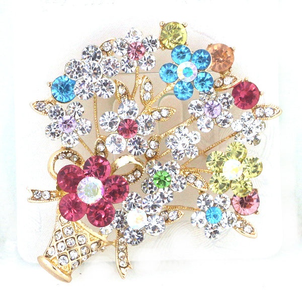 Flower Bouquet Glass Pin Brooch