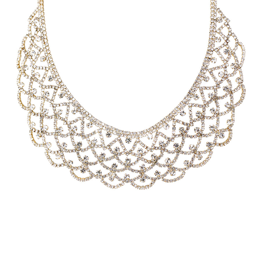 Rhinestone Scallop Lace Collar Necklace