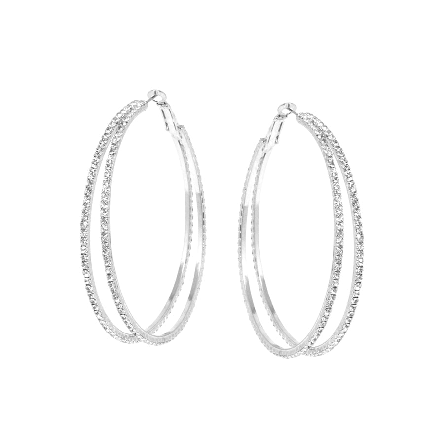 Rhinestone Double Hoop Earrings (Medium)