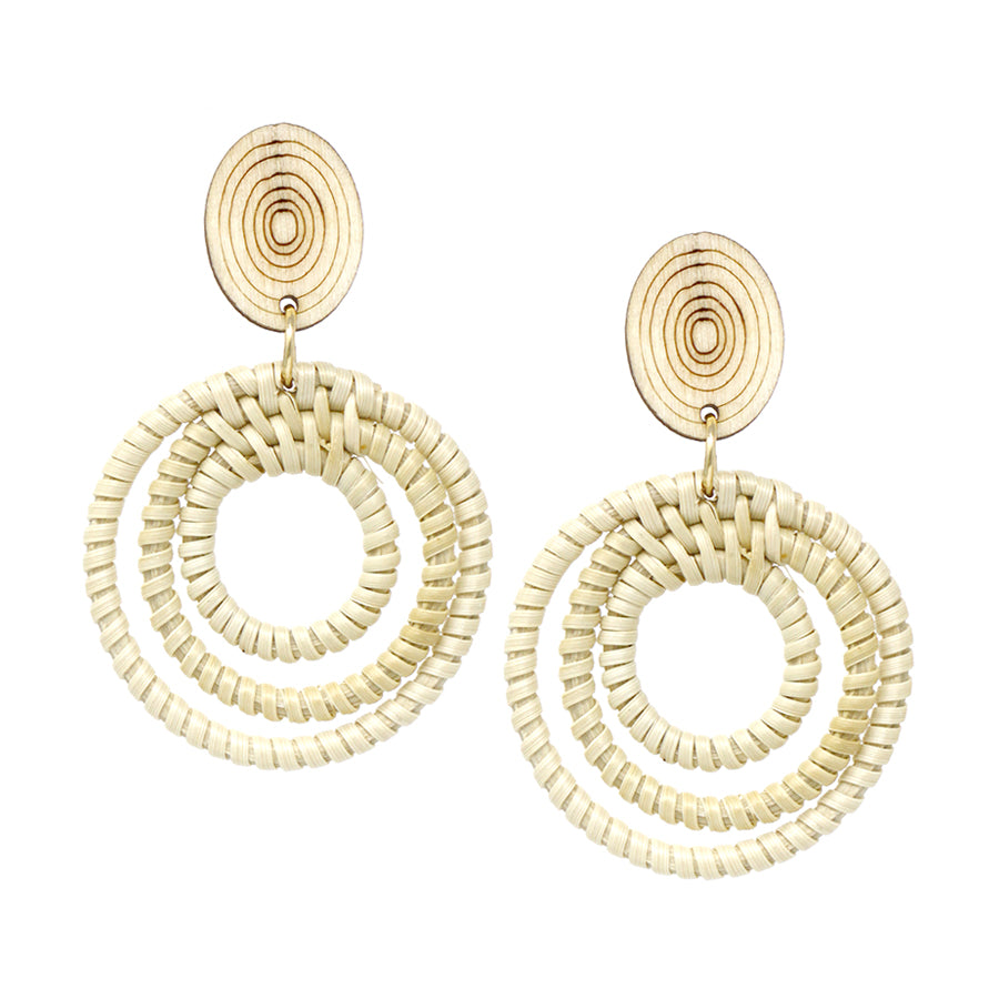4bbae5887811a7 Wood Ring Textured Top With Straw Wrapped Spiral Hoop Earrings –  USJewelryhouse