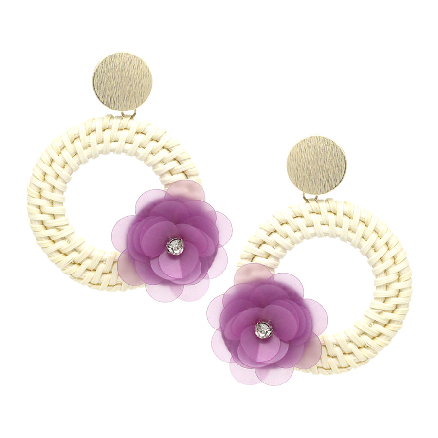 Sequin Flower With Straw Hoop Drop Earrings